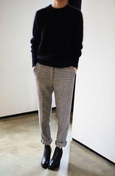 Pants checked trousers tartan check monochrome ...
