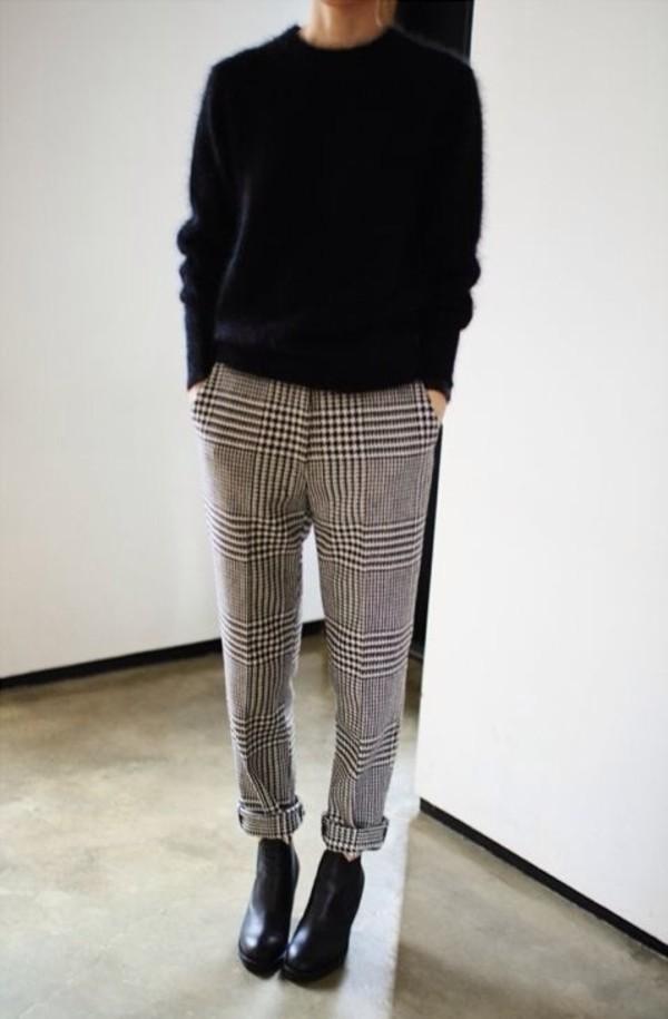 pants checked trousers tartan check monochrome boyfriend trousers fashion perfect boyish. Black Bedroom Furniture Sets. Home Design Ideas