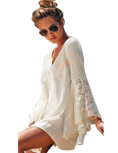 blouse beach crochet lace sarong dress cover up