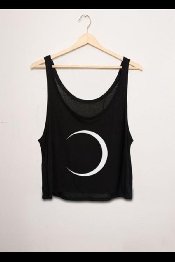 shirt hipster tank top crescent moon