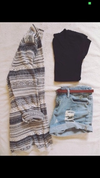 cardigan aztec aztec sweater pattern high waisted shorts grey sweater black t-shirt tight denim denim shorts cotton summer outfits outfit