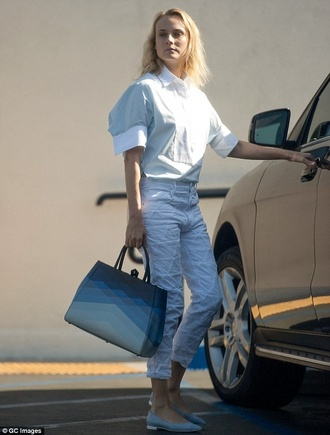 cute white summer outfits pants diane kruger triangle cropped pants geometric sewn cropped