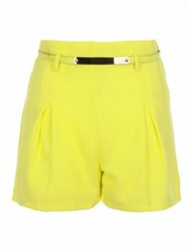 shorts,yellow,lime,tailoring,flare,belt,high waisted
