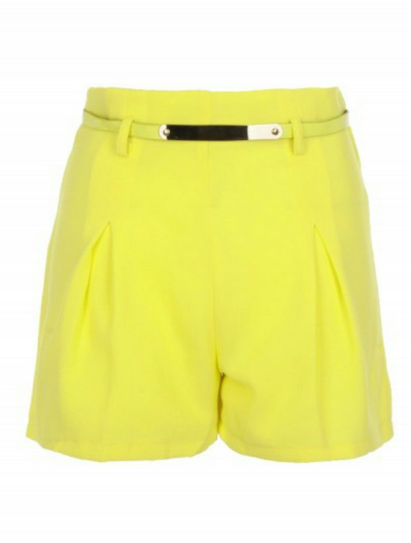 shorts yellow lime tailoring flare belt high waisted