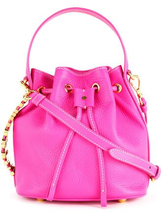 women bag bucket bag leather purple pink