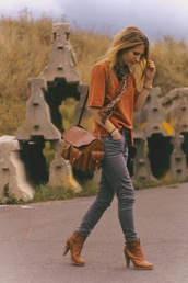 boots,high heels,leather,brown shoes,orange shoes,bag,shoes