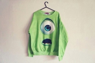 sweater green sweater monsters inc mike wazowski shirt style