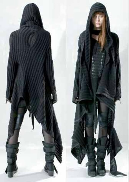 Jacket: black, cotton, long coat - Wheretoget