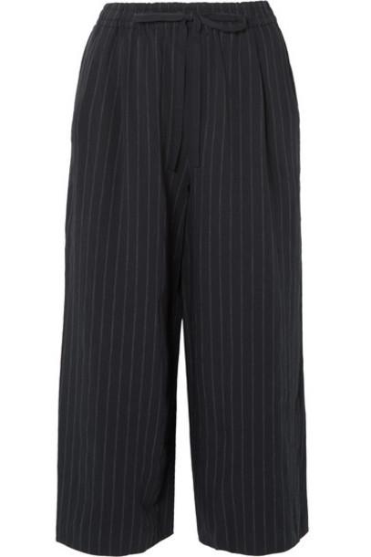 pants wide-leg pants cropped navy