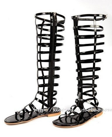New 2013 Gladiator boots summer strappy knee high bootie flats genuine leather sandals-inBoots from Shoes on Aliexpress.com