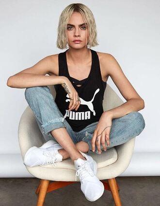 top puma cara delevingne instagram sneakers jeans tank top