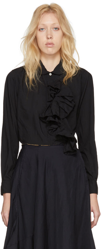 shirt ruffle shirt ruffle black top