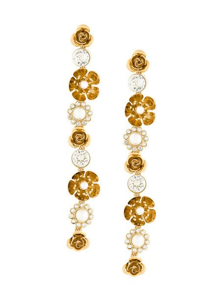 long women earrings grey metallic jewels