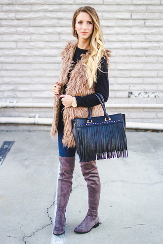 happily howards blogger jewels vest faux fur vest fringed bag flat boots suede boots beige fur vest top black top bag black bag fringes boots grey boots over the knee boots thigh high boots