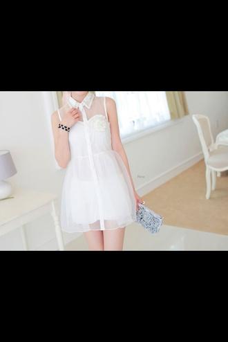 white dress collar summer dress ulzzang kfashion