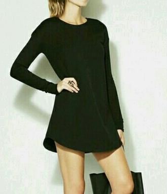 dress black littleblackdress long sleeves party party dress curvedhem curve helpmefindit