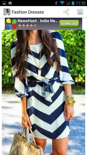 bleu blanc rayures robe