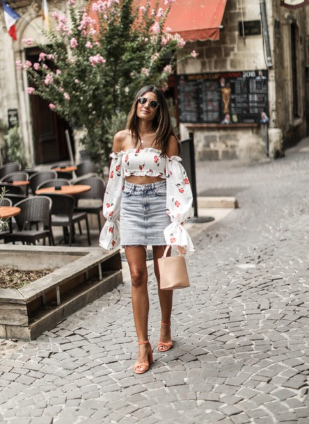 top white top skirt mini skirt off the shoulder off the shoulder top crop tops denim skirt sandals