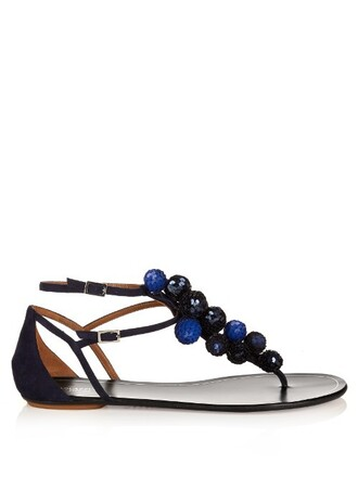 sandals flat sandals suede navy shoes
