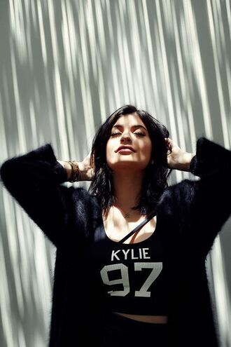 top crop kylie jenner cardigan all black everything summer top tank top kendall + kylie label