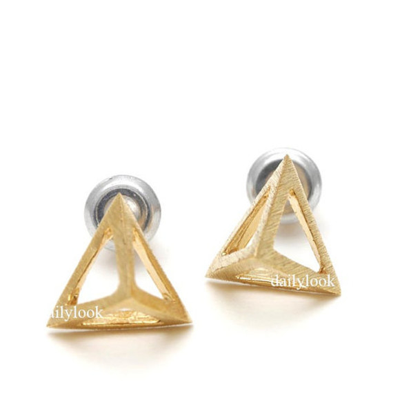 triangle jewels geometric triangle earrings studs men studs geometric earrings pyramid studs triangle studs unique earrings triangle jewelry pyramid earrings