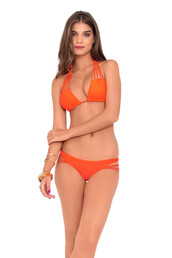 luli fama,bikini top,orange,strappy bikini,strappy swimwear,bikini luxe,top,triangle