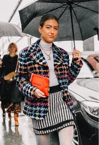 jacket blazer printed blazer top grey top turtleneck necklace bag skirt striped skirt accessories accessory mini skirt streetstyle