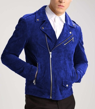 jacket royal blue suede jacket blue suede biker jacket mens jacket menswear