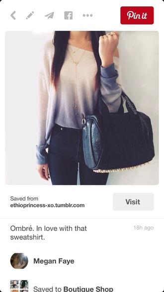 shirt ombre white blue sweater off the shoulder ombre sweater blue ombré white top blue shirt style fashion off the shoulder sweater off the shoulder top pants bag jeans