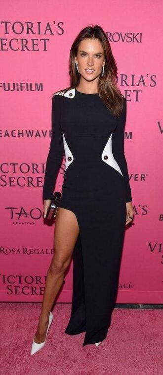 dress gown prom dress alessandra ambrosio pumps slit dress model victoria's secret