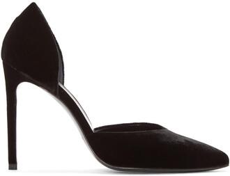 paris heels black velvet shoes