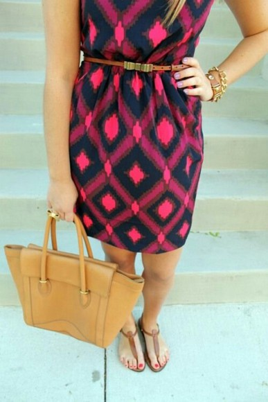 dress pink navy print dress cute summer outfits shoes