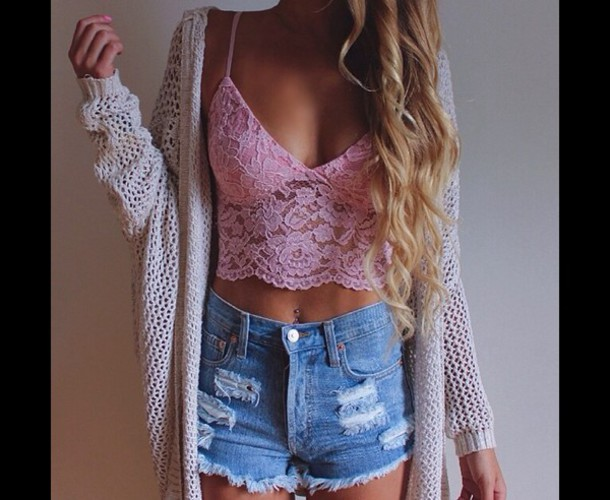 cardigan pink lace crop top knitted cardigan knitwear ripped shorts High waisted shorts crop tops