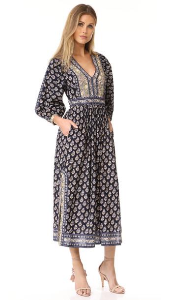 56a6db99fc3 La Vie Rebecca Taylor Long Sleeve Indienne Dress - Navy Combo ...