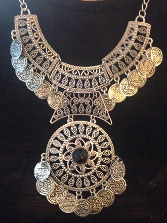 jewels collier argent necklace coin necklace
