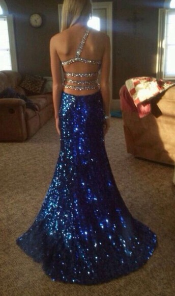 backless dress prom dress sparkly blue dress sequins long prom dress long dress sparkly dress mermaid backless prom dress