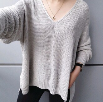 sweater on point clothing waffle knit oversized sweater v-neck cardigan sweaters v-neck top light gray grey chic style fall outfits necklace moon crescent moon crescent moon necklace moon necklace cute stylish fashion tumblr classy minimalist crescent pendant