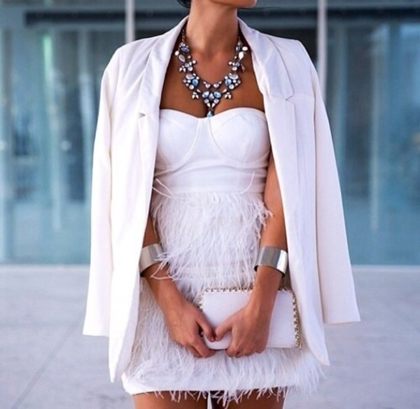 blouse white dress white dress fringes bandeau bustier prom party dress short summer dress bodycon fluffy necklace clutch jewels white prom feather cute short dress