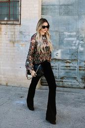 a little dash of darling,blogger,top,blouse,pants,bag,jewels,shoes,flare velvet pants,black velvet pants