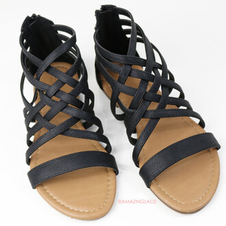 shoes zipper back black sandals strappy sandals amazinglace.com