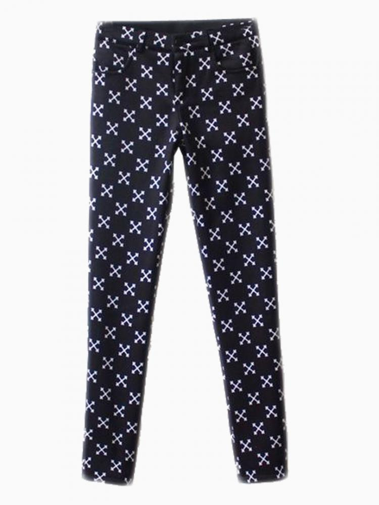 Vintage Skinny Pants In Cross Print | Choies