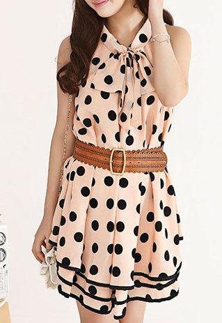 shopbazar shopping mall — [grzxy6601579]Sweet Polka Dot Bowknot Loose Fit Layered Tank Dress