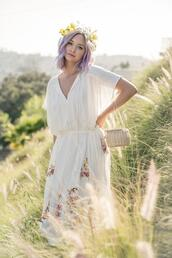 late afternoon,blogger,dress,bag,basket bag,summer outfits,white dress,spring outfits