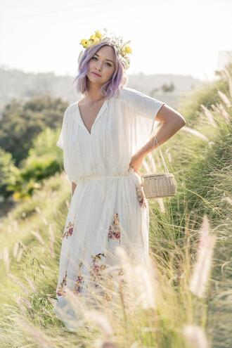 late afternoon blogger dress bag basket bag summer outfits white dress spring outfits