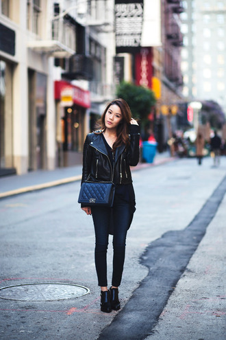 tsangtastic blogger jewels bag leather jacket black shoes