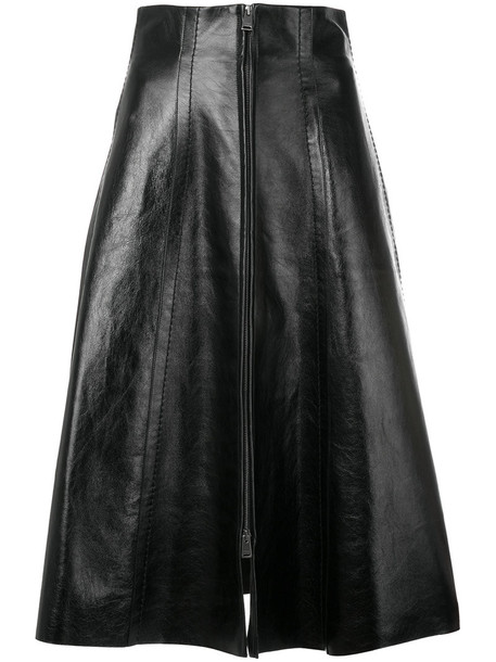 Fendi - zip front midi skirt - women - Lamb Skin/Silk - 40, Black, Lamb Skin/Silk