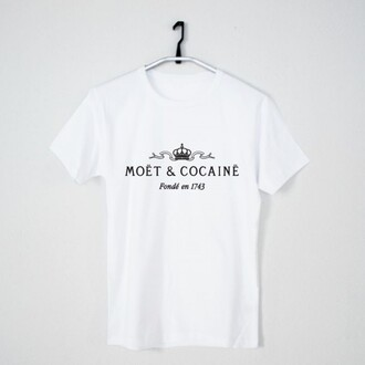shirt tee moet t-shirt t-shirt t-shirt with print t-shirt women comic shirt white t-shirt cocaine white cocaine and caviar