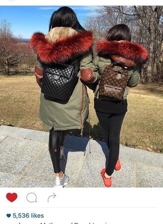 jacket fur coat red fur army green jacket fashion winter outfits fur olive green red fur parka winter jacket