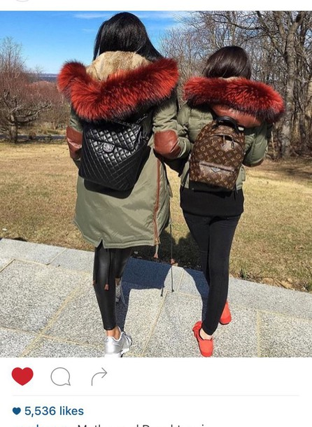 Jacket: fur coat, red fur, army green jacket, fashion, winter ...