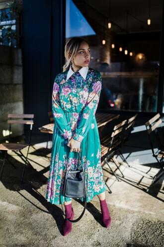 dress tumblr midi dress floral floral dress long sleeves long sleeve dress boots sock boots